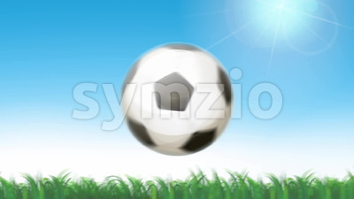 Soccer Ball Flying On Seamless Grass Animation Stock Video
