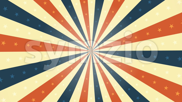 Animation of a looped vintage abstract and retro american patriotic poster, with sunbeams background, stars and stripes for fourth of ...