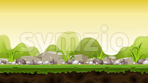 Seamless looped animation of a cartoon funny nature rural landscape for game ui scenics, with grass, stones and boulders, and ...
