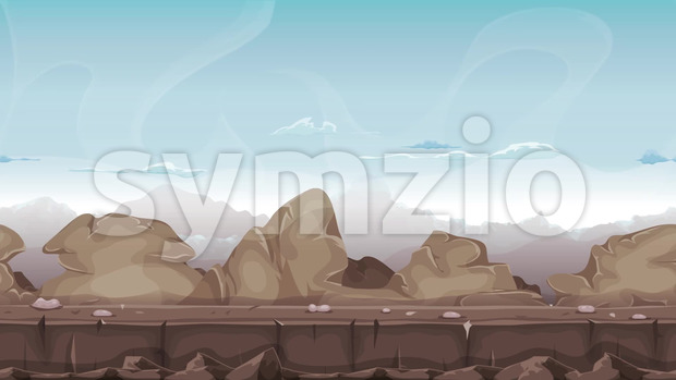 Seamless animation of a cartoon desert stones, rocks and boulders landscape, with layers for parallax and high mountains range background ...