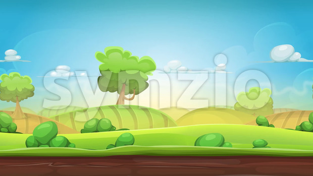 Animation of a cartoon seamless country landscape, with agriculture fields, parallax motion effect, trees, clouds and smoke shapes
