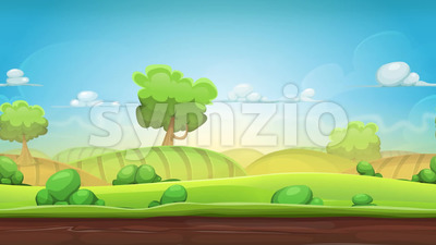 Cartoon Country Landscape Animation Loop Stock Video