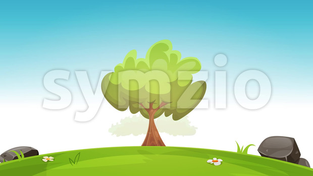Loopable animation of a cartoon spring or summer season urban landscape, with tree, green field and skyscrapers background, using bouncing, ...