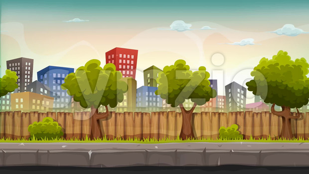 Animation Loop of a cartoon seamless urban city landscape with fancy buildings and skyscrapers, for game ui