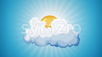 Cartoon Sun And Cloud Loop Stock Video