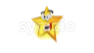 Funny Cartoon Star Icon Character Jumping Stock Video