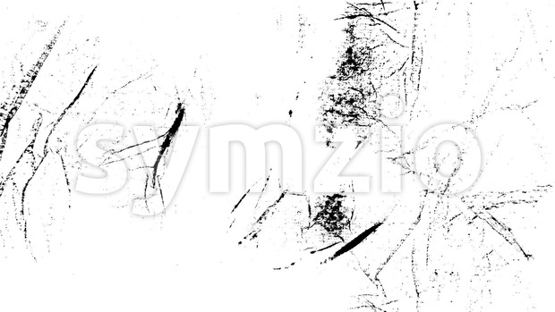 Animation of a vintage motion graphic with black and white grunge distressed texture, patterns of cracks, dirt and stains