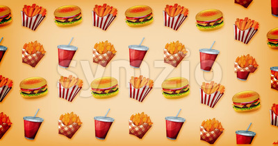 Loopable 2d Motion Graphics Fast Food Background Stock Video