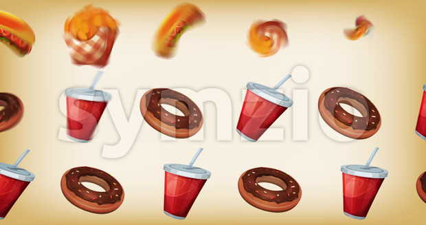 Animation of a design fast food background, with burger, cup of soda, french fries and potatoes for restaurant ads