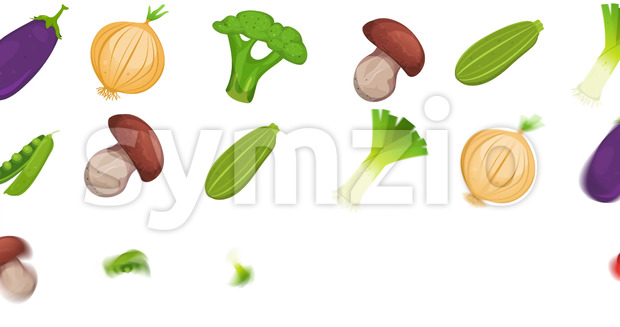Animation of a 2d motion graphics food background, with various vegetables and condiments twirling and fading in and out