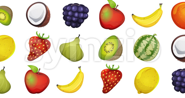 Animation of a 2d motion graphics food background, with various fruits twirling and fading in and out
