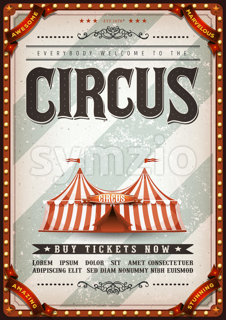 Vintage Design Circus Poster Stock Vector