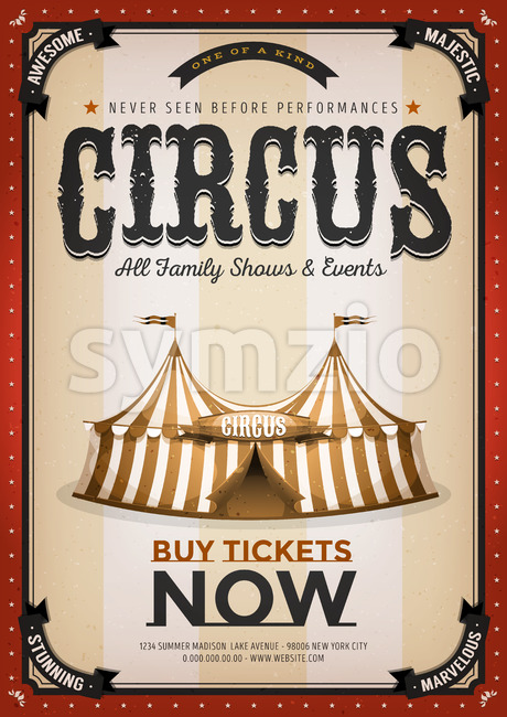 Vintage Golden Circus Background Stock Vector