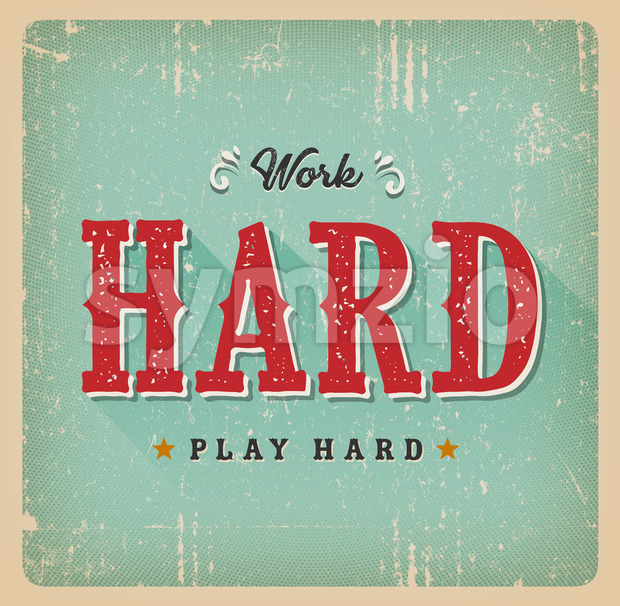 Work Hard Play Hard Retro Business Card Stock Vector