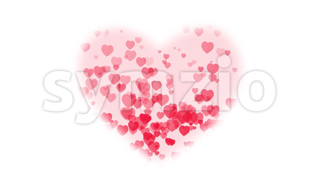 Animated background with big heart mask and rising little hearts for valentine's day holiday