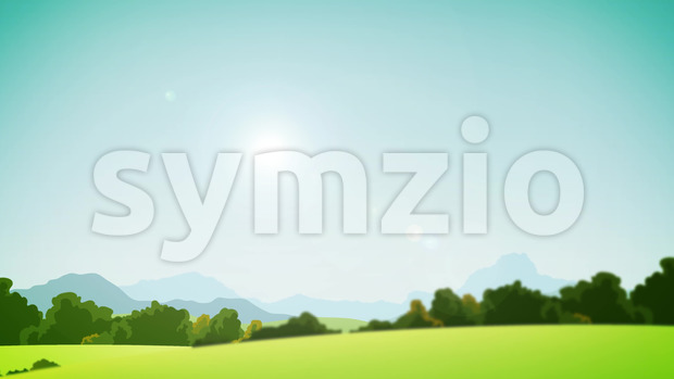 Animation of a country rural landscape background, in summer season