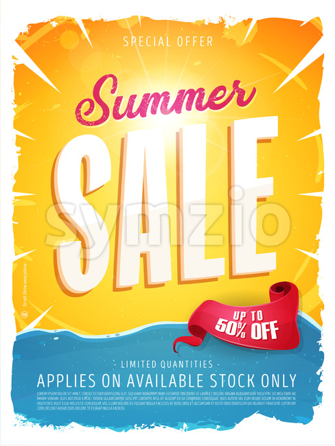Summer Sale Template Banner Stock Vector