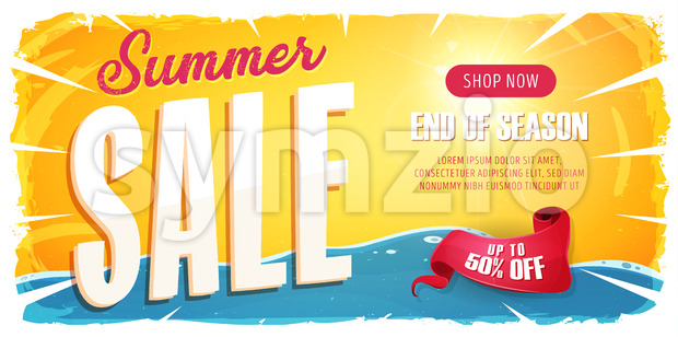 Summer Sale Wide Banner Stock Vector