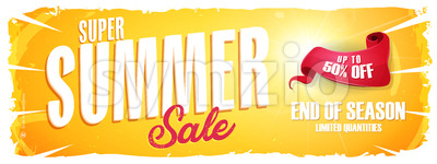 Summer Sale Extra Wide Banner Stock Vector