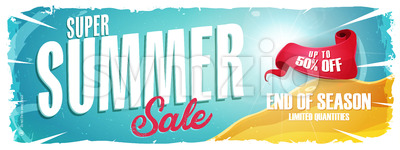 Summer Holiday Sale Wide Banner Stock Vector