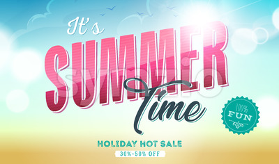 Summer Time Template Banner Stock Vector