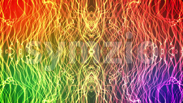 Abstract animated kaleidoscopic background with colorful shining light particles waving