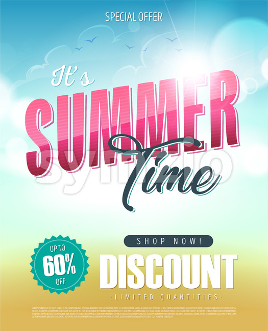 Summer Time Holiday Sale Banner Stock Vector