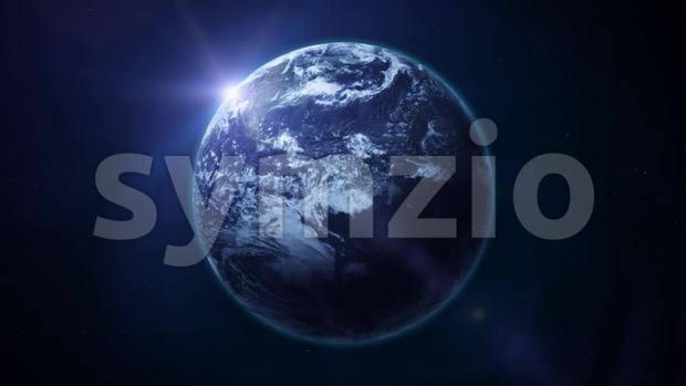 Animation of a realistic earth planet surface rotating 24h with cloudscape motion and lens flare effect