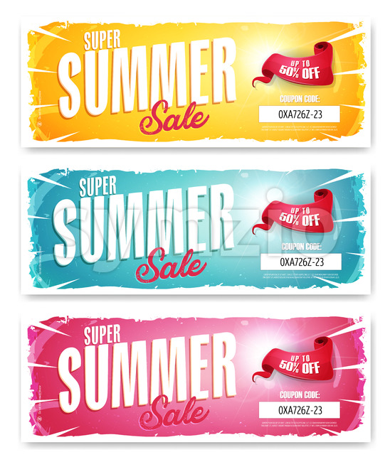 Hot Summer Sale Banner With Coupon Code Stock Vector