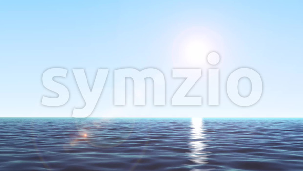 Animation of loopable summer sunrise ocean landscape with water waves texture and shining sun