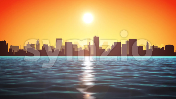 Animation of loopable summer sunrise ocean landscape with cityscape and skyscrapers behind