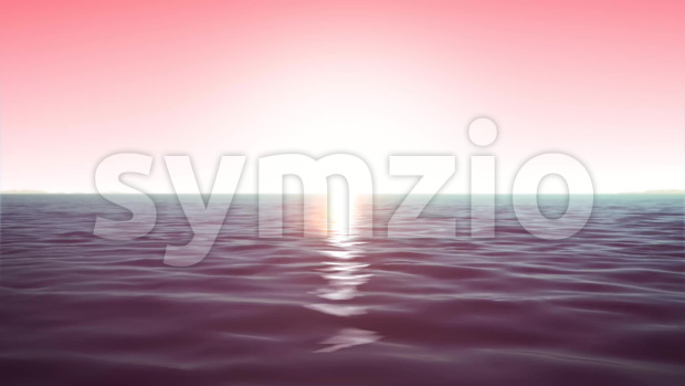 Animation of loopable summer dawn ocean landscape with water waves texture and shining sun