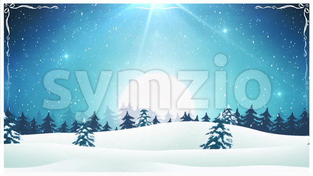 Animation of a seamless loopable christmas holidays landscape, with snowfall and snow, firs, mountains and beautiful starry sky at night