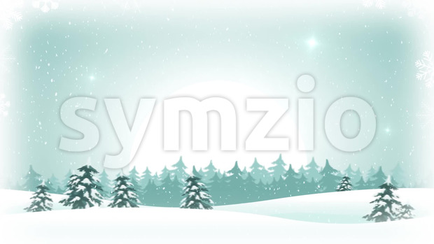 Animation of a seamless loopable christmas holidays landscape, with snowfall and snowflakes, firs, and beautiful white moon