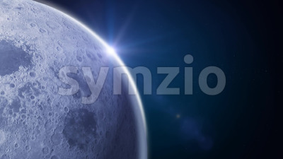 Side Moon On Blue Space Background Stock Video