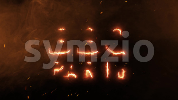 Animation of a 4k barbecue party background with burning letters, smoke, sparks and frame