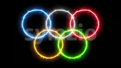 4k Olympic Games Background With Burning Rings Stock Video