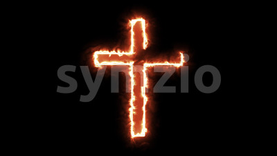 4k Christian Cross Symbol Burning Stock Video