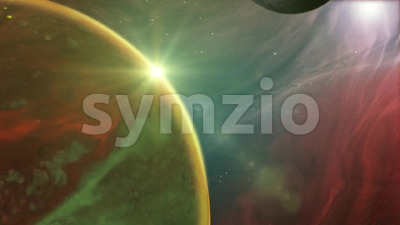 Outer Space Planet And Nebula Background Stock Video