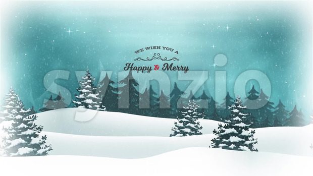 Animation of a beautiful christmas postcard with landscape background, firs, snow and elegant banners for winter and new year holidays