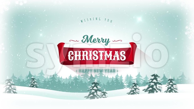 Animation of a beautiful merry christmas postcard with landscape background, firs, snow and elegant banners for winter and new year ...
