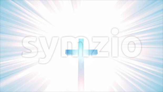 Animation of a christian cross with star burst background, symbolizing heaven, eternity and power of god