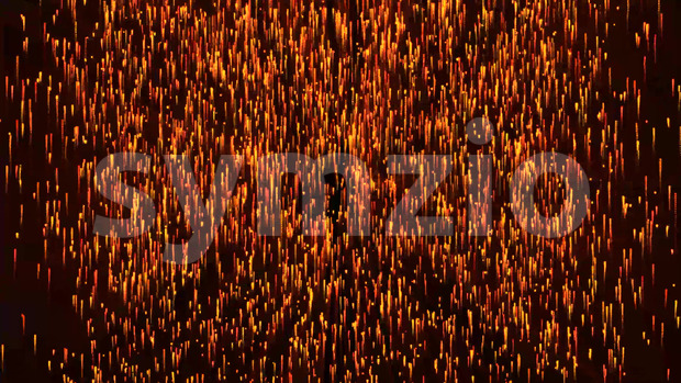 Animation of an abstract background with elegant gold and fire light particles flying up
