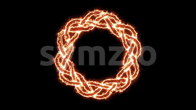 4k Fire Celtic Symbol Spinning Loop Stock Video