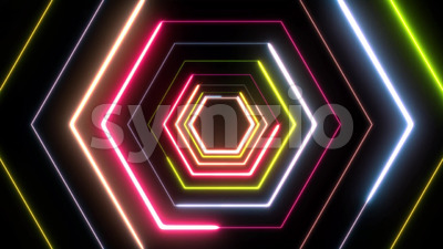 Abstract Digital Background Neon Polygon Stock Video