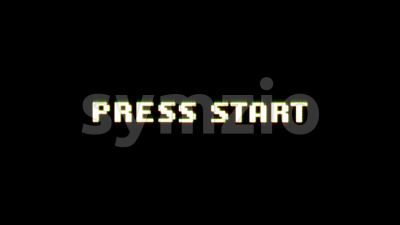 Press Start Game Ui Screen With Bad Glitch Effect Stock Video