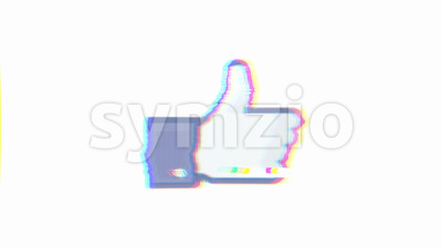 Social Network Like Icon With Distortion And Glitch Effect Stock Video