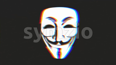 Anonymous Mask Icon On Bad Old Film Tape Stock Video