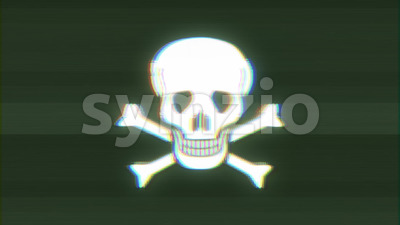Skull And Cross Bones Icon On Bad Old Film Tape Stock Video