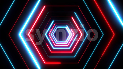 4k Abstract Digital Background Neon Polygon Stock Video
